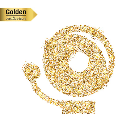 decibels: Gold glitter vector icon of school bell isolated on background. Art creative concept illustration for web, glow light confetti, bright sequins, sparkle tinsel, abstract bling, shimmer dust, foil.