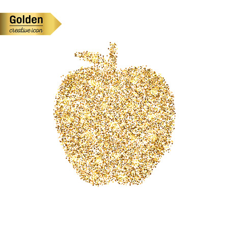 Gold glitter vector icon of apple isolated on background. Art creative concept illustration for web, glow light confetti, bright sequins, sparkle tinsel, abstract bling, shimmer dust, foil.