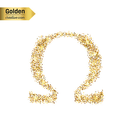 sorority: Gold glitter vector icon of omega isolated on background. Art creative concept illustration for web, glow light confetti, bright sequins, sparkle tinsel, abstract bling, shimmer dust, foil.