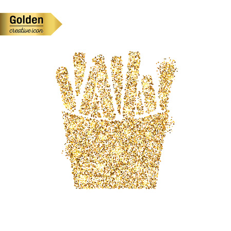 frites: Gold glitter vector icon of French fries isolated on background. Art creative concept illustration for web, glow light confetti, bright sequins, sparkle tinsel, abstract bling, shimmer dust, foil.