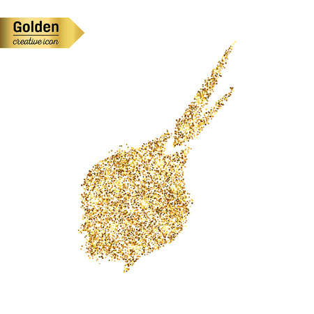 onion isolated: Gold glitter vector icon of onion isolated on background. Art creative concept illustration for web, glow light confetti, bright sequins, sparkle tinsel, abstract bling, shimmer dust, foil.