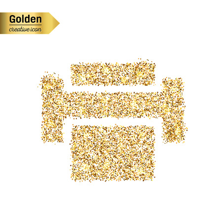 Consumables: Gold glitter vector icon of printer isolated on background. Art creative concept illustration for web, glow light confetti, bright sequins, sparkle tinsel, abstract bling, shimmer dust, foil.