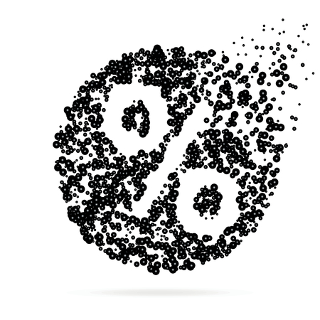 silhoette: Abstract creative concept vector icon of percent for web and mobile app isolated on background. For art illustration template design, business infographic, social media, digital flat silhoette.