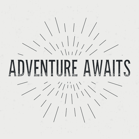 adventures: Abstract creative vector design layout with text - adventure awaits.