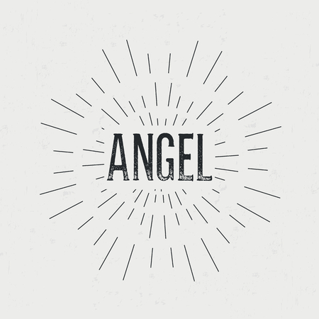 devil ray: Abstract creative vector design layout with text - angel. Vintage concept background, art template, retro elements,  , labels, badge, old banner, card. Handmade typography word.