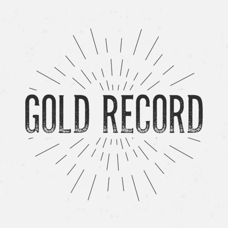 gold record: Abstract creative vector design layout with text - gold record.