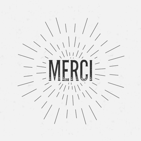 rubberstamp: Abstract creative vector design layout with text - merci. Vintage concept background, art template, retro elements,  , labels, layout, badge, old banner, card. Hand made typography word