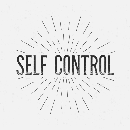 self control: Abstract creative vector design layout with text - self control. Vintage concept background, art template, retro elements,  , labels, layout, badge, old banner, card. Hand made typography word.