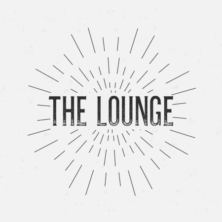 rubberstamp: Abstract creative vector design layout with text - the lounge. Vintage concept background, art template, retro elements,   labels, layout, badge, old banner, card. Hand made typography word. Illustration
