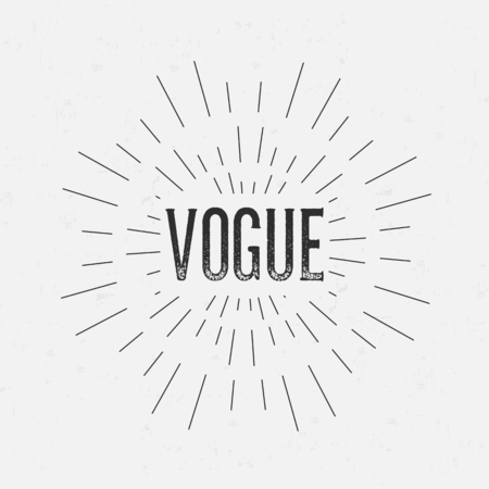 vogue: Abstract creative vector design layout with text - vogue. Vintage concept background, art template, retro elements,   labels, layout, badge, old banner, card. Hand made typography word