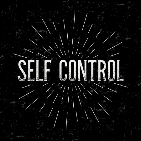 self control: Abstract creative vector design layout with text - self control. Vintage concept background, art template, retro elements, logo, labels, layout, badge, old banner, card. Hand made typography word.
