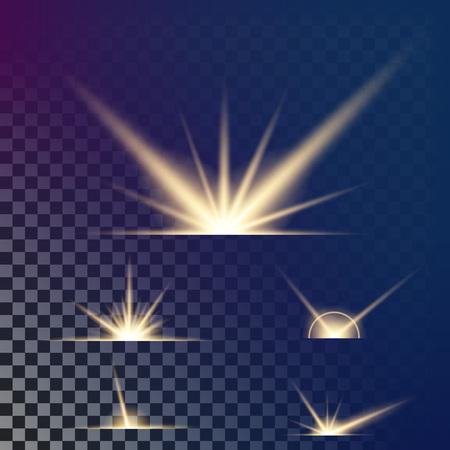 resplandor: Concepto creativo Conjunto de vectores de estrellas de efecto de luz de resplandor explosiones con chispas aisladas sobre fondo negro. Para el diseño del arte de la plantilla de la ilustración, la bandera para la Navidad celebra, rayo de energía mágico de la energía. Vectores