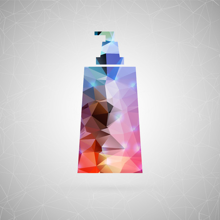 glowing skin: Abstract creative concept vector icon of cosmetic bottle. For web and mobile content isolated on background, unusual template design, flat silhouette object and social media image, triangle origami