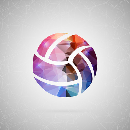 Abstract creative concept vector icon of volleyball ball. For web and mobile content isolated on background, unusual template design, flat silhouette object and social media image, triangle origami.