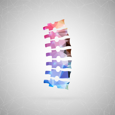scoliosis: Abstract creative concept vector icon of spine. For web and mobile content isolated on background, unusual template design, flat silhouette object and social media image, triangle art origami.