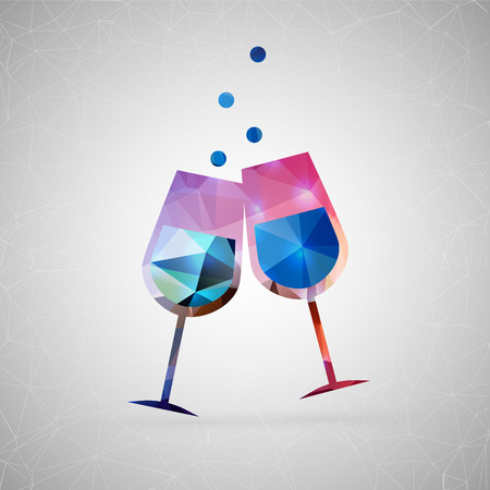 Abstract creative concept vector icon of wine glasses. For web and mobile content isolated on background, unusual template design, flat silhouette object and social media image, triangle art origami.