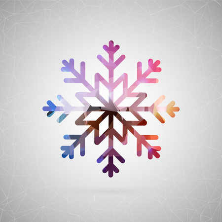 Abstract creative concept vector icon of snowflake. For web and mobile content isolated on background, unusual template design, flat silhouette object and social media image, triangle art origami.