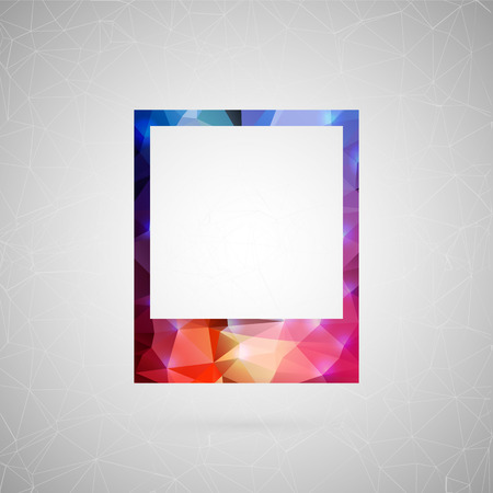 imprints: Abstract creative concept vector icon of photo frame. For web and mobile content isolated on background, unusual template design, flat silhouette object and social media image, triangle art origami. Illustration