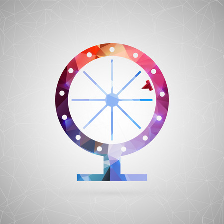 spinning: Abstract creative concept vector icon of fortune wheel. For web and mobile content isolated on background, unusual template design, flat silhouette object and social media image, triangle art origami. Illustration