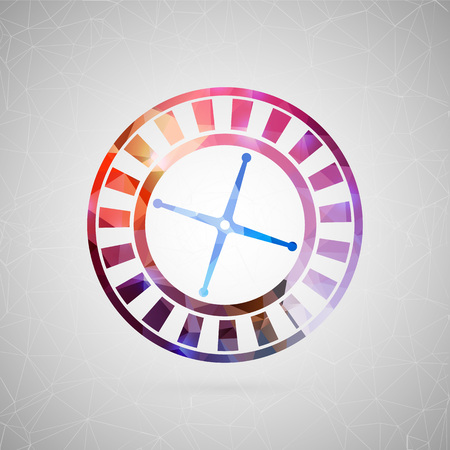 original single: Abstract creative concept vector icon of casino roulette. For web and mobile content isolated on background, unusual template design, flat silhouette object, social media image, triangle art origami.