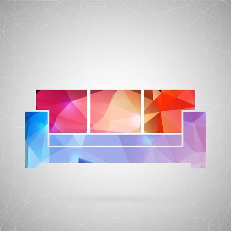 Abstract creatief concepten vectorpictogram van meubilair. Voor web- en mobiele inhoud geïsoleerd op de achtergrond, ongebruikelijke sjabloonontwerp, platte silhouet object en sociale media-afbeelding, driehoek kunst origami.