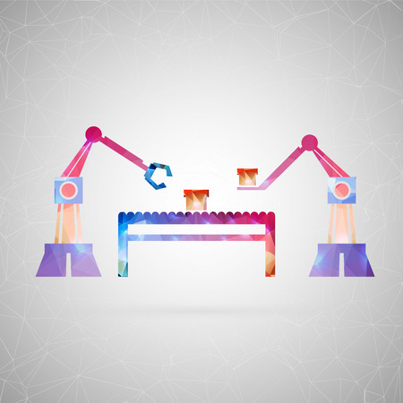 machine operator: Abstract creative concept vector icon of robotic arm. For web and mobile content isolated on background, unusual template design, flat silhouette object and social media image, triangle art origami. Illustration