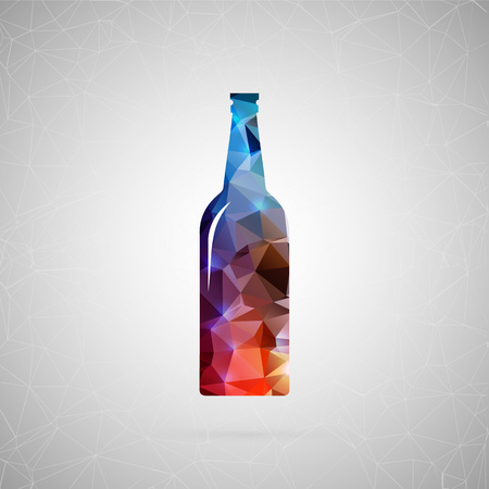 beer stein: Abstract creative concept vector icon of beer. For web and mobile content isolated on background, unusual template design, flat silhouette object and social media image, triangle art origami.