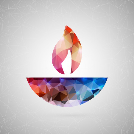 dipawali: Abstract creative concept vector icon of diwali candle. For web and mobile content isolated on background, art template design, flat silhouette object, triangle art origami, banner, poster, sale gift.