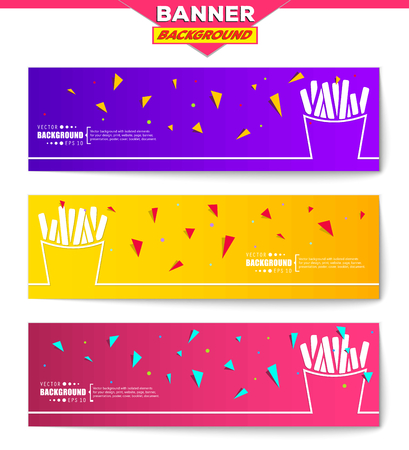 frites: Abstract creative concept vector background for web, mobile app, Illustration template design, business infographic, page, brochure, orange banner, presentation, poster, purple cover, pink booklet. Illustration