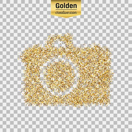Gold glitter vector icon of photo camera isolated on background. Art creative concept illustration for web, glow light confetti, bright sequins, sparkle tinsel, abstract bling, shimmer dust, foil.
