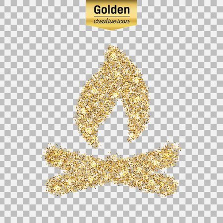 Gold glitter vector icon of bonfire isolated on background. Art creative concept illustration for web, glow light confetti, bright sequins, sparkle tinsel, bling, shimmer dust, foil.