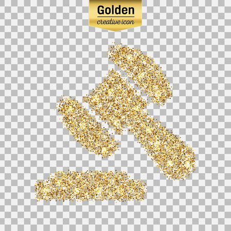 Gold glitter vector icon of gavel isolated on background. Art creative concept illustration for web, glow light confetti, bright sequins, sparkle tinsel, bling, shimmer dust, foil. Illustration