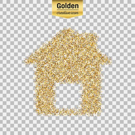 Gold glitter vector icon of house isolated on background. Art creative concept illustration for web, glow light confetti, bright sequins, sparkle tinsel, abstract bling, shimmer dust, foil. Illustration
