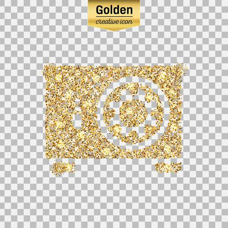 Gold glitter vector icon of safe box isolated on background. Art creative concept illustration for web, glow light confetti, bright sequins, sparkle tinsel, abstract bling, shimmer dust, foil.
