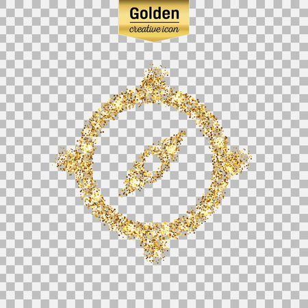 Gold glitter vector icon of compass isolated on background. Art creative concept illustration for web, glow light confetti, bright sequins, sparkle tinsel, abstract bling, shimmer dust, foil. Illustration