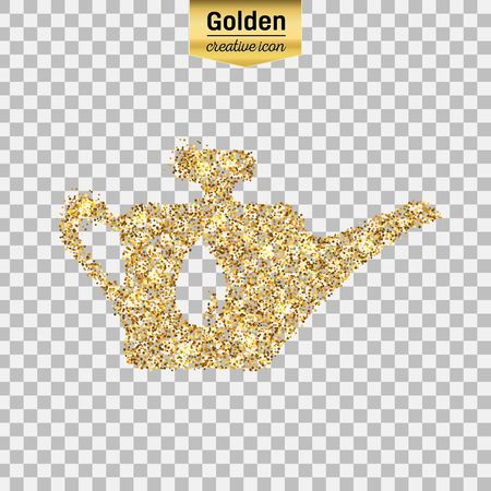 Gold glitter vector icon of oil lubricator isolated on background. Art creative concept illustration for web, glow light confetti, bright sequins, sparkle tinsel, bling, shimmer dust, foil. Illustration