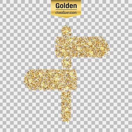 Gold glitter vector icon of plaque isolated on background. Art creative concept illustration for web, glow light confetti, bright sequins, sparkle tinsel, bling, shimmer dust, foil.