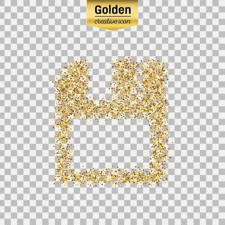 Gold glitter vector icon of save isolated on background. Art creative concept illustration for web, glow light confetti, bright sequins, sparkle tinsel, abstract bling, shimmer dust, foil.