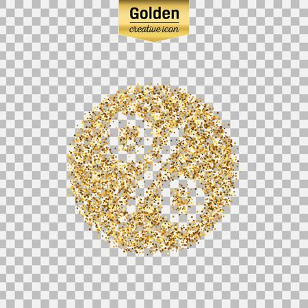 Gold glitter vector icon of percent isolated on background. Art creative concept illustration for web, glow light confetti, bright sequins, sparkle tinsel, abstract bling, shimmer dust, foil. Illustration