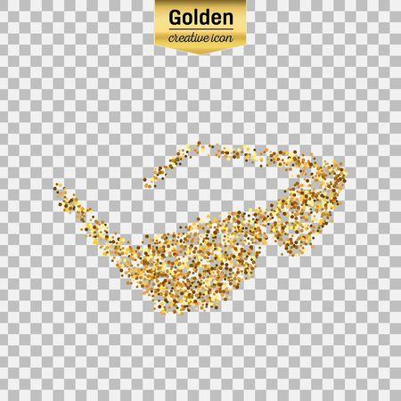 eyewear fashion: Gold glitter vector icon of sun glasses isolated on background. Art creative concept illustration for web, glow light confetti, bright sequins, sparkle tinsel, abstract bling, shimmer dust, foil.