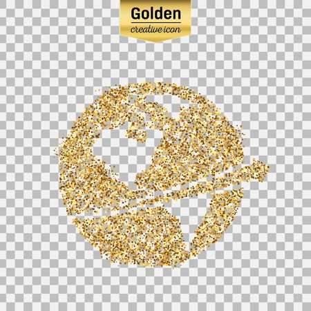 gold earth: Gold glitter vector icon of planet earth isolated on background. Art creative concept illustration for web, glow light confetti, bright sequins, sparkle tinsel, abstract bling, shimmer dust, foil.