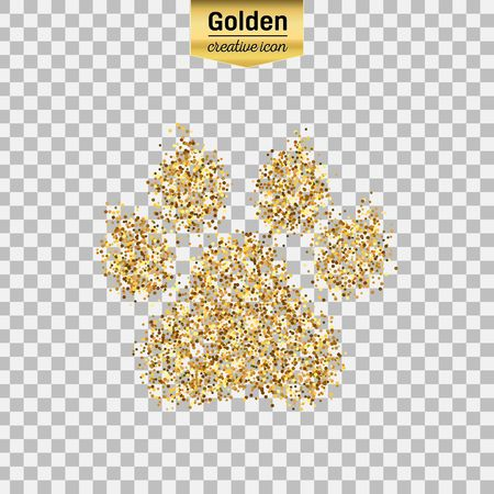 footprint sand: Gold glitter vector icon of animal footprint isolated on background. Art creative concept illustration for web, glow light confetti, bright sequins, sparkle tinsel, abstract bling, shimmer dust, foil.