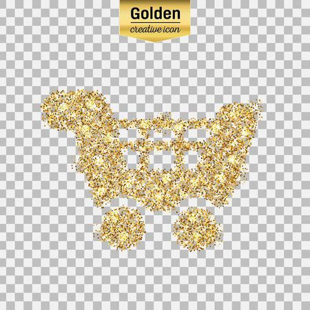 Gold glitter vector icon of cart isolated on background. Art creative concept illustration for web, glow light confetti, bright sequins, sparkle tinsel, abstract bling, shimmer dust, foil.