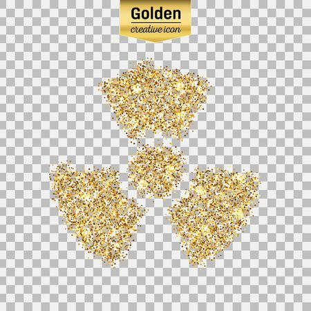 toxic substance: Gold glitter vector icon of radioactively isolated on background. Art creative concept illustration for web, glow light confetti, bright sequins, sparkle tinsel, abstract bling, shimmer dust, foil.