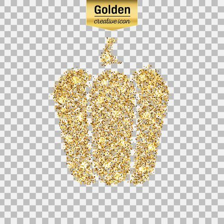 Gold glitter vector icon of pepper isolated on background. Art creative concept illustration for web, glow light confetti, bright sequins, sparkle tinsel, abstract bling, shimmer dust, foil.