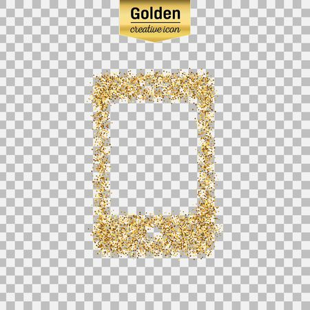 Gold glitter vector icon of smart phone isolated on background. Art creative concept illustration for web, glow light confetti, bright sequins, sparkle tinsel, abstract bling, shimmer dust, foil. Illustration