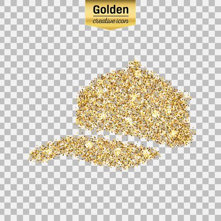 Gold glitter vector icon of baseball cap isolated on background. Art creative concept illustration for web, glow light confetti, bright sequins, sparkle tinsel, abstract bling, shimmer dust, foil. Illustration