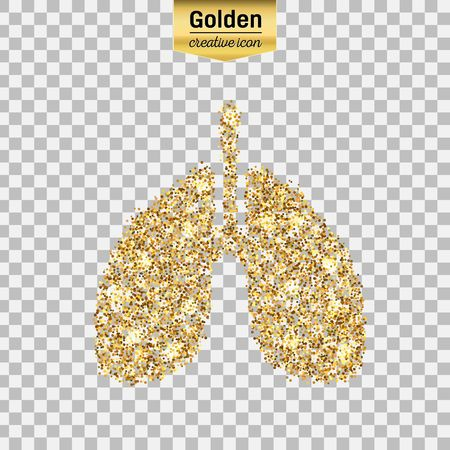 induced: Gold glitter vector icon of Breath isolated on background. Art creative concept illustration for web, glow light confetti, bright sequins, sparkle tinsel, abstract bling, shimmer dust, foil.
