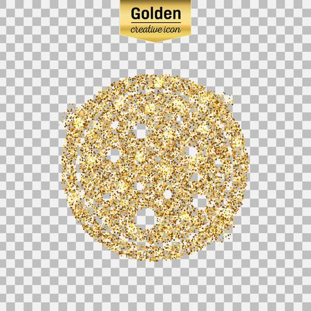 Gold glitter vector icon of pizza isolated on background. Art creative concept illustration for web, glow light confetti, bright sequins, sparkle tinsel, abstract bling, shimmer dust, foil.