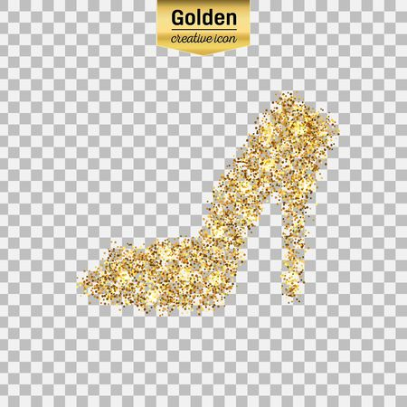 Gold glitter vector icon of right shoe isolated on background. Art creative concept illustration for web, glow light confetti, bright sequins, sparkle tinsel, abstract bling, shimmer dust, foil.